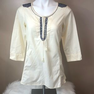 Eddie Bauer ivory tunic with embroidery